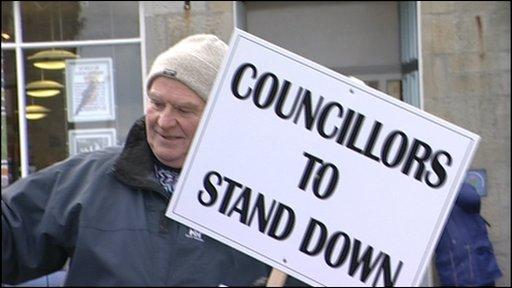 Shetland protestor