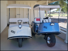 His and hers golf carts