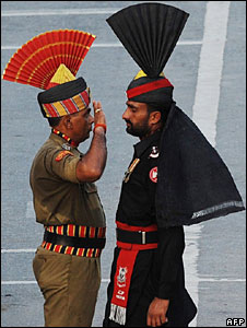 The ceremonial salute at the Wagah border