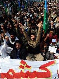 An anti-India protest over Kashmir in Lahore on February 5, 2010