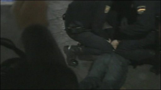 Shoe protester detained