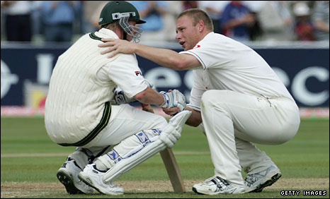 Brett Lee (left) is consoled by Andrew Flintoff in the iconic moment of the 2005 Ashes series