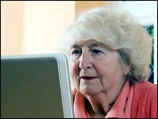 Elderly patient using the internet
