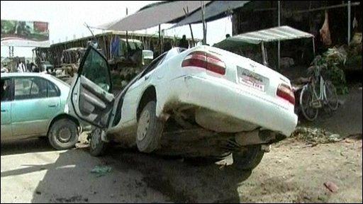 Aftermath of Lashkar Gah bicycle bombing