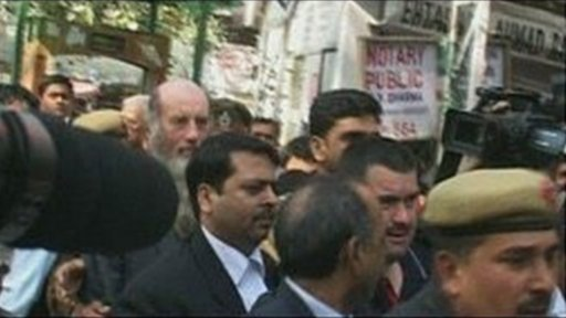 Steven Ayres and Stephen Hampton arrive at court in India
