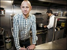 Evan Davis in the kitchen of a Wisbech restaurant