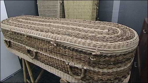 Coffin made from wicker