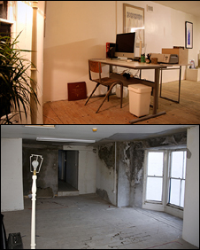 Before and after pictures of room in Empty Shop HQ. Photos: Empty Shop