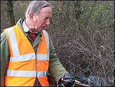 David Barker on a litter pick
