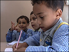 Children at a nusery school at the Abu Zaabal leper colony