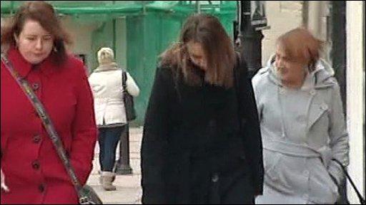 Woman walking to court