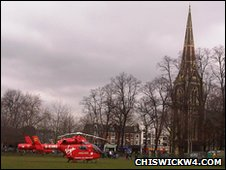 Air Ambulance responding to incident