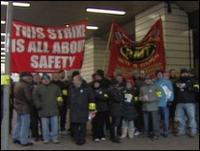 RMT members on the picket line