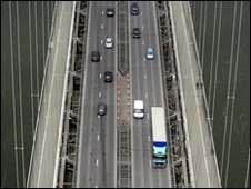 Aerial view of Forth Road Bridge