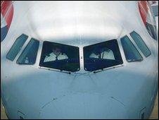 Pilots on a BA plane