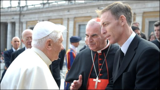The Pope with Cardinal Keith O&amp;apos;Brien and Jim Murphy