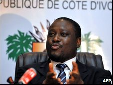 Ivorian Prime Minister Guillaume Soro at press conference in Abidjan 23 February