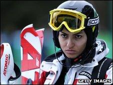 Iranian skier Marjan Kalhor at Winter Olympics 14 February 2010