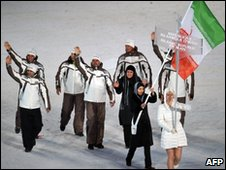 The Iranian delegation at the opening ceremony of the Winter Olympics  10 February 2010