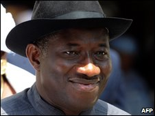 Nigerian Acting President Goodluck Jonathan in Abuja on 16 February 2010