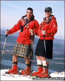 Skiers in kilts