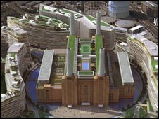 Artist impression of how the new look Battersea Power Station in south London would look like