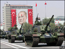 Tanks roll past a banner of Ataturk (2008)