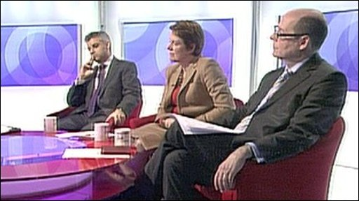 Sadiq Khan, Caroline Spelman and Nick Robinson