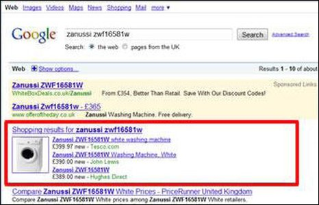 Google screengrab from Foundem's submission
