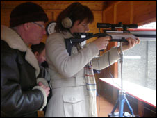 Ffion Miles shooting an air rifle