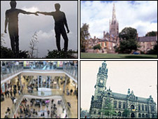 Top left to right: Derry, Norwich. Bottom left to right: Birmingham, Sheffield