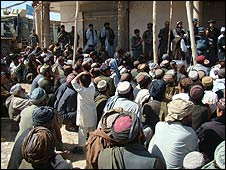 Meeting between the Afghan army and local people in marjah