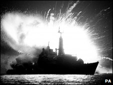 File pic of Argentine bomb exploding on board the Royal Navy frigate HMS Antelope in 1982