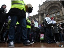 Council workers protest against proposed cuts at Birmingham City Council