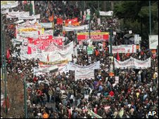 Protest march in Athens, 24 Feb