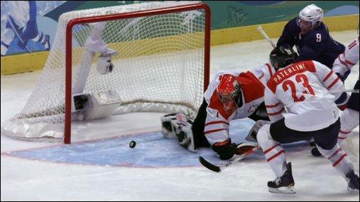 Switzerland v USA ice hockey