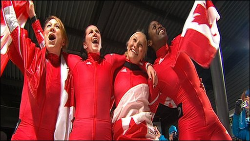 Canada's Kaillie Humphries, Heather Moyse, Helen Upperton and Shelly-Ann Brown