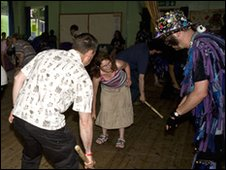 Widders teaching border morris dance
