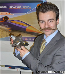 Bloodhound's rocket engineer Daniel Jubb with impeller (Bloodhound SSC)