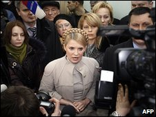 Ukraine's Prime Minister Yulia Tymoshenko outside the supreme administrative court in Kiev 16/02/10