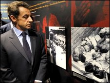 France's President Nicolas Sarkozy visits the Memorial of the Rwandan genocide in Kigali