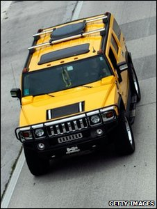 Hummer on the road