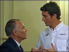 US F1 team boss Peter Windsor and driver Jose Maria Lopez