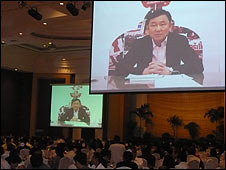 Thaksin Shinawatra address a dinner in Bangkok, Thailand
