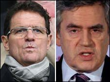 Fabio Capello and Gordon Brown