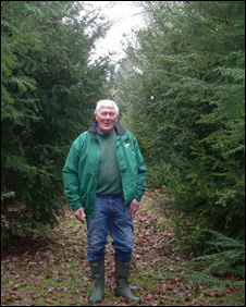 John Udall in the replanted yew walk at Pell Wall Hall