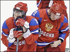 Russian ice hockey players react after their defeat to Canada. Photo: 24 February 2010