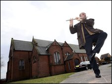 Ian Anderson of Jethro Tull outside Holy Family church in Blackpool