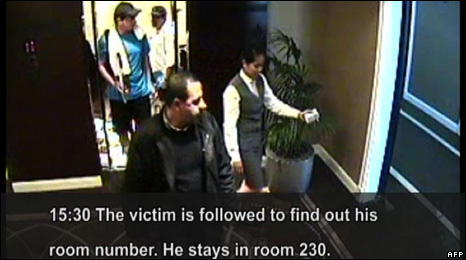 CCTV showing how Mahmoud al-Mabhouh was followed to his hotel room in Dubai (19 January 2009)