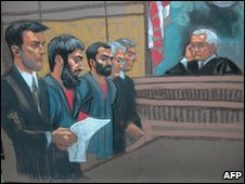 Trial of Adis Medunjanin and Zarein Ahmedzay, 25 February 2010 (courtroom drawing)